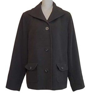 JM Collection Single Breasted Pea Coat-XL, Black